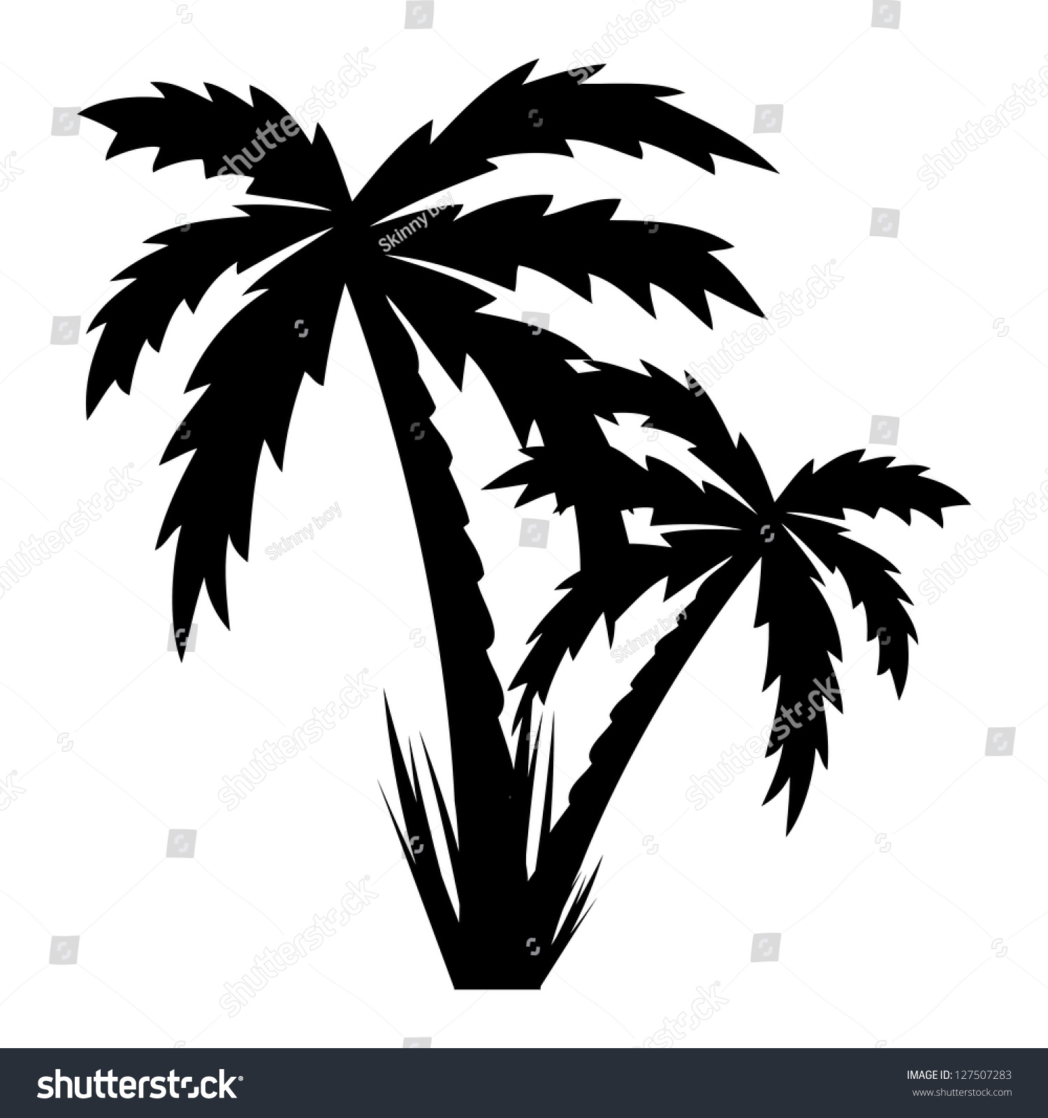 Vector Illustration Palm Trees Vector Stock Vector 127507283 ...