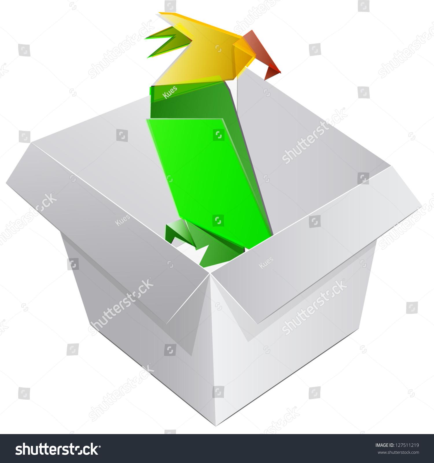Empty box origami parrot vector design stock vector 127511219 empty box with an origami parrot vector design jeuxipadfo Gallery
