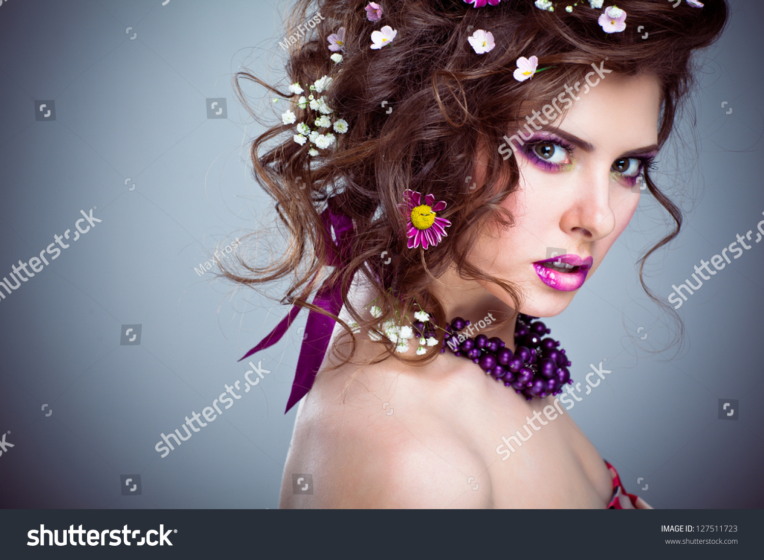 Young beautiful woman flowers her hair stock photo 127511723 young beautiful woman with flowers in her hair and bright artistic makeup dhlflorist Gallery