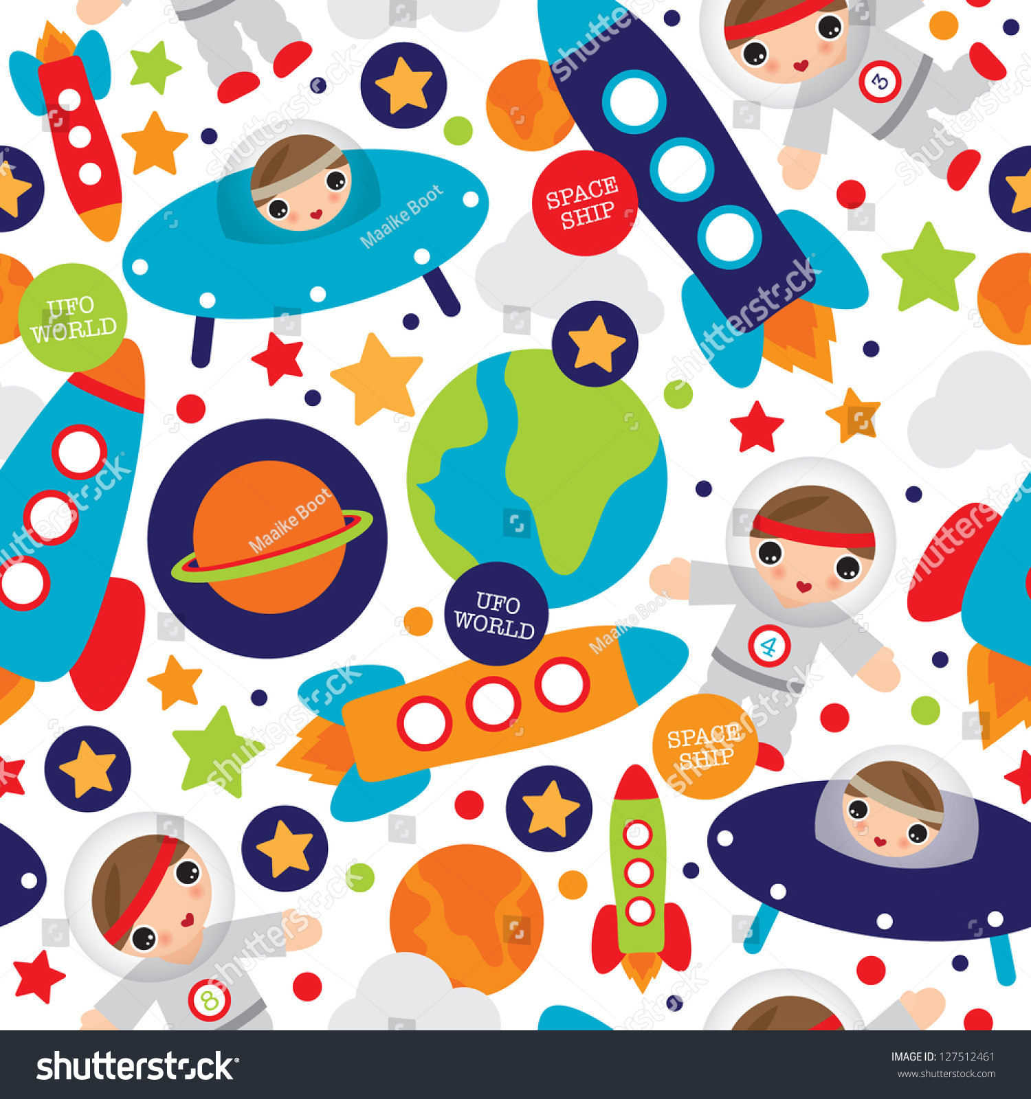 seamless outer space ufo rocket science kids background