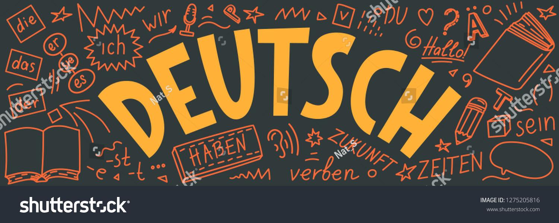 Doodles Lettering Deutsch Der Die Das Stock Vector Royalty Free ...