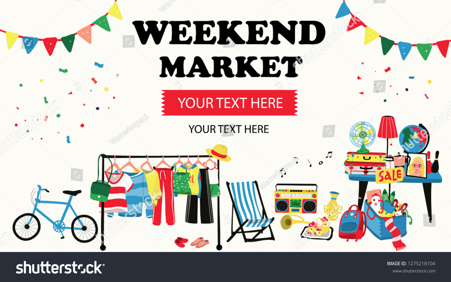 5db8ab89 Weekend market banner with second hand shop doodle selling all old things  like, clothes,