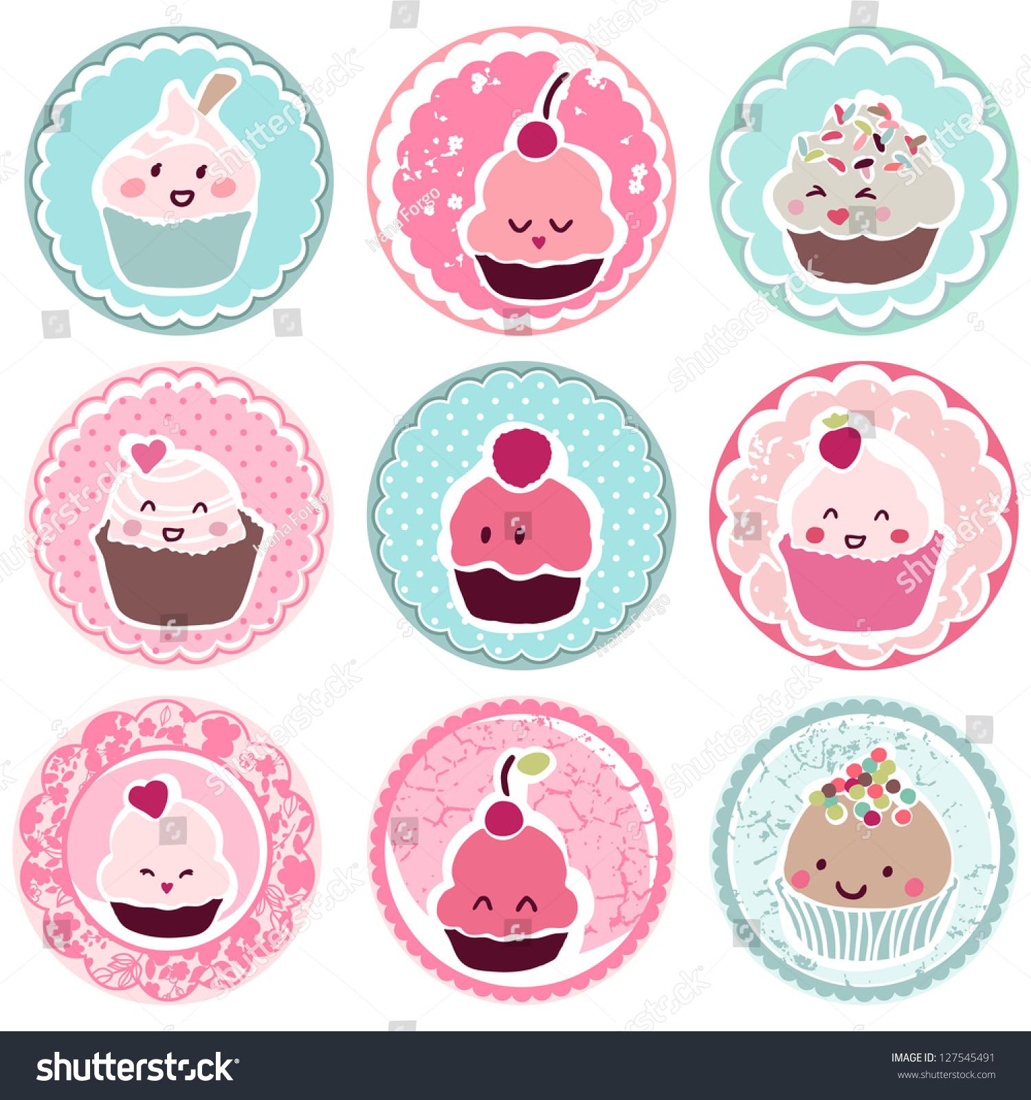 Cute Cupcake Tags Stock Vector 127545491 Shutterstock