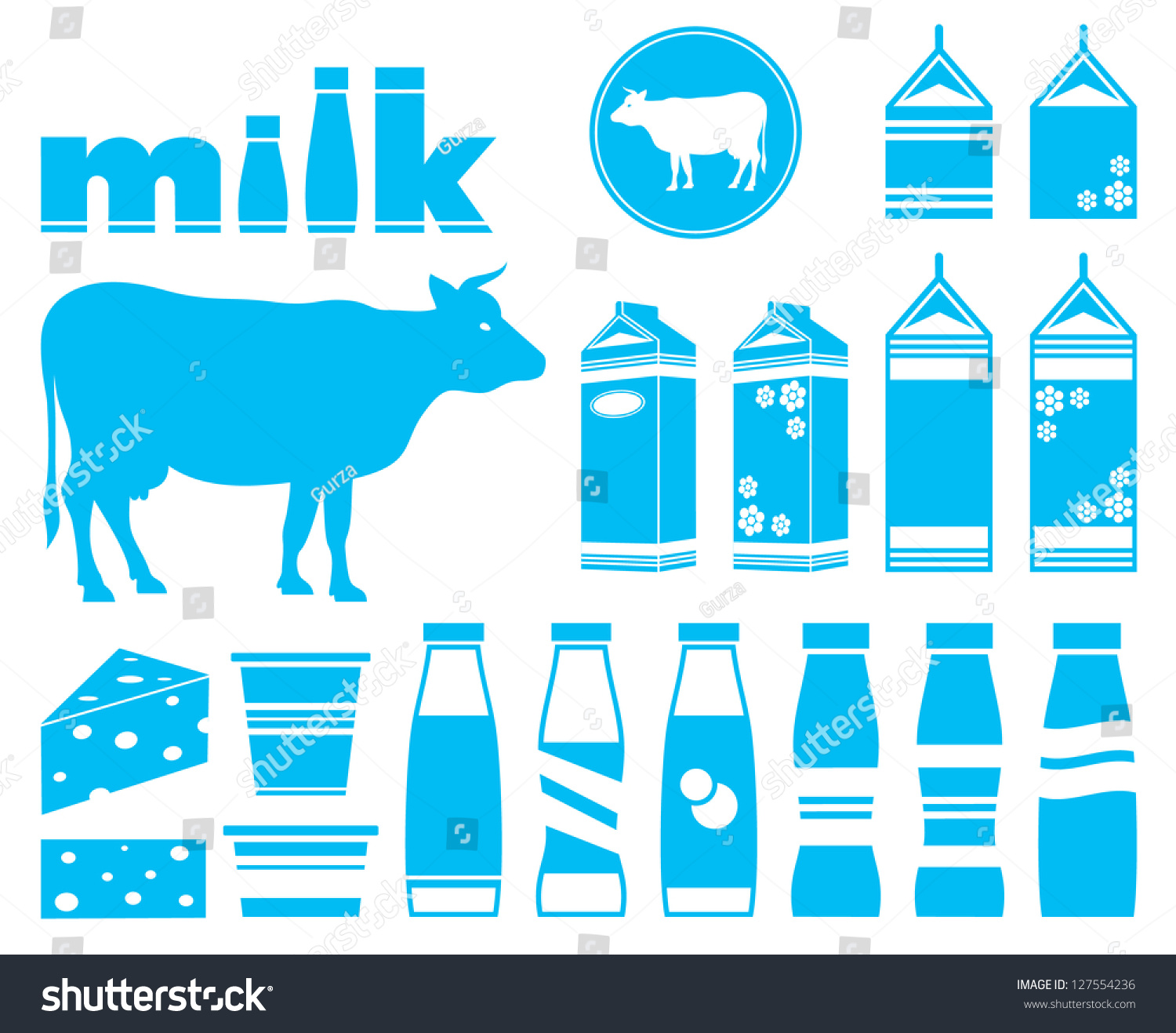 Set Icons Milk Dairy Products Cow Stock Vector 127554236 ...