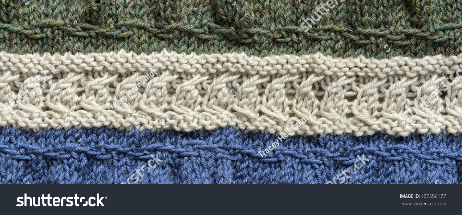 Knitting Kinds Of Stitches : A Homemade Wool Blanket Displaying Different Kinds Of Knit Stitches Stock Pho...