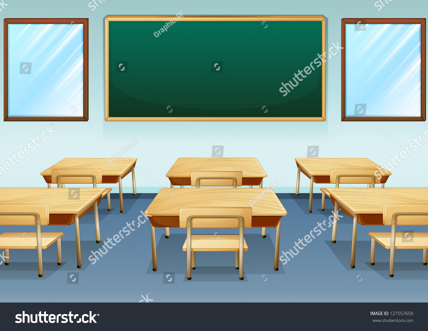 Modern Classroom Vector : Illustration of a clean and empty classroom