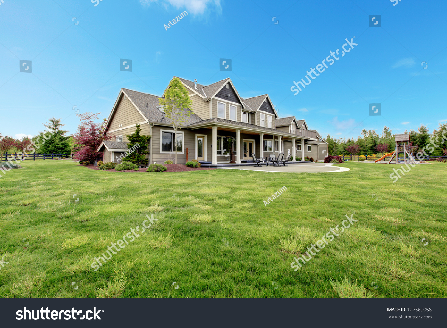 Large farm country house with spring green landscape kids for Big houses in the country