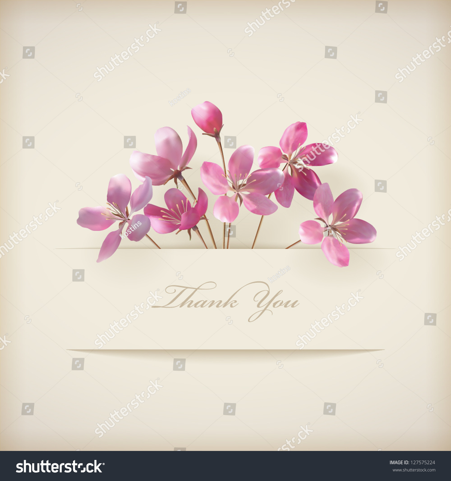 Floral Thank You Card Beautiful Realistic Stock Vector 127575224 ...