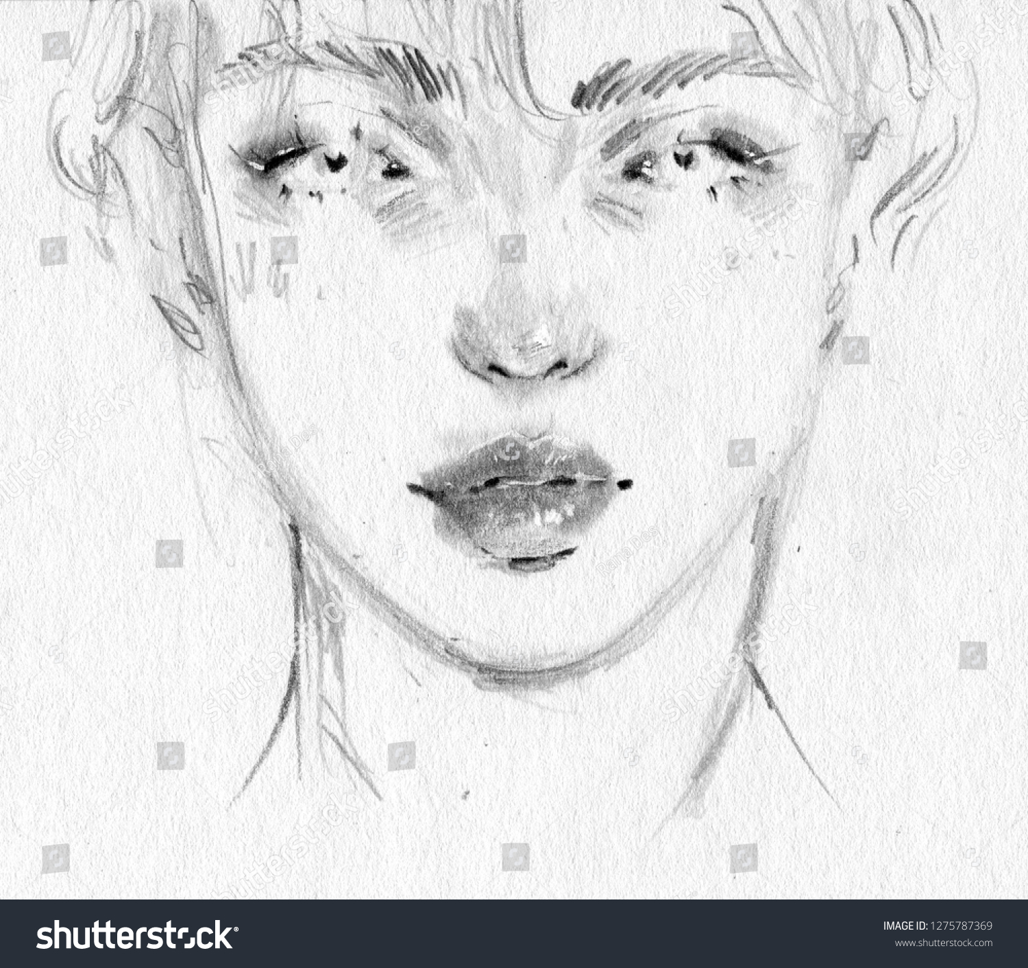 Asian guy face black and white pencil drawing sketch on paper abstract korean boy with beautiful eyes art portrait