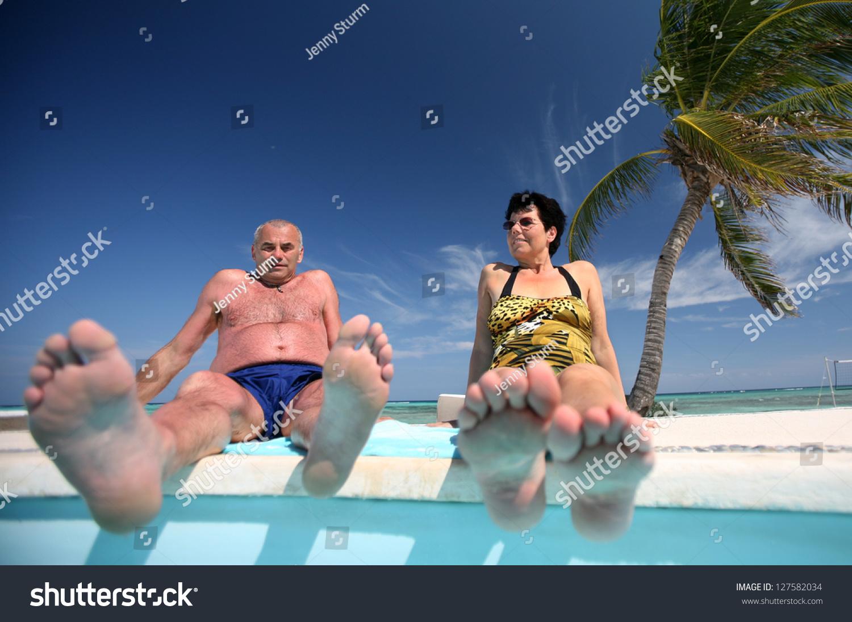 A mature sunbathing