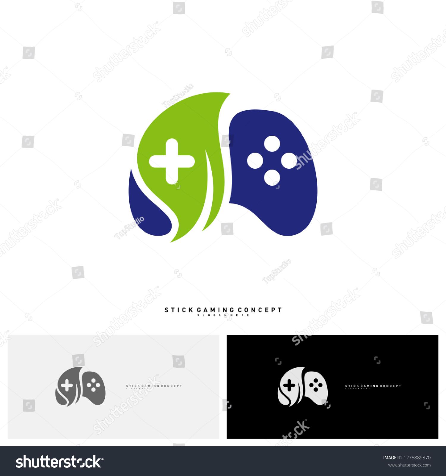 Nature Joystick Game Logo Concept Template Stock Vector (Royalty