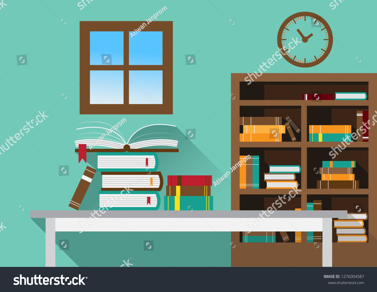 Library Open Book On Table Bookcasewall Stock Vector