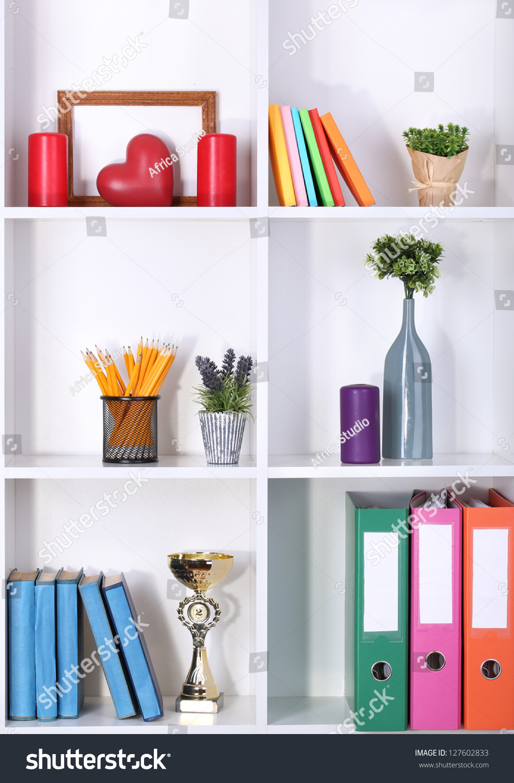 Beautiful white shelves with different home related objects stock photo 127602833 shutterstock - Beautiful photoshelves ...