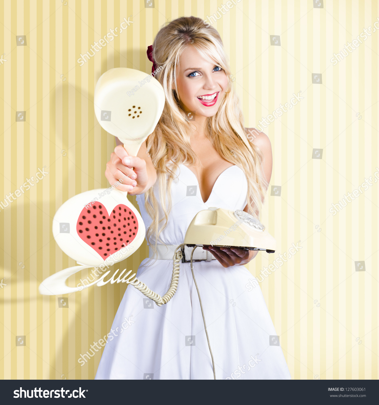Pretty 60s Pinup Girl Handing Over Stock Photo 127603061
