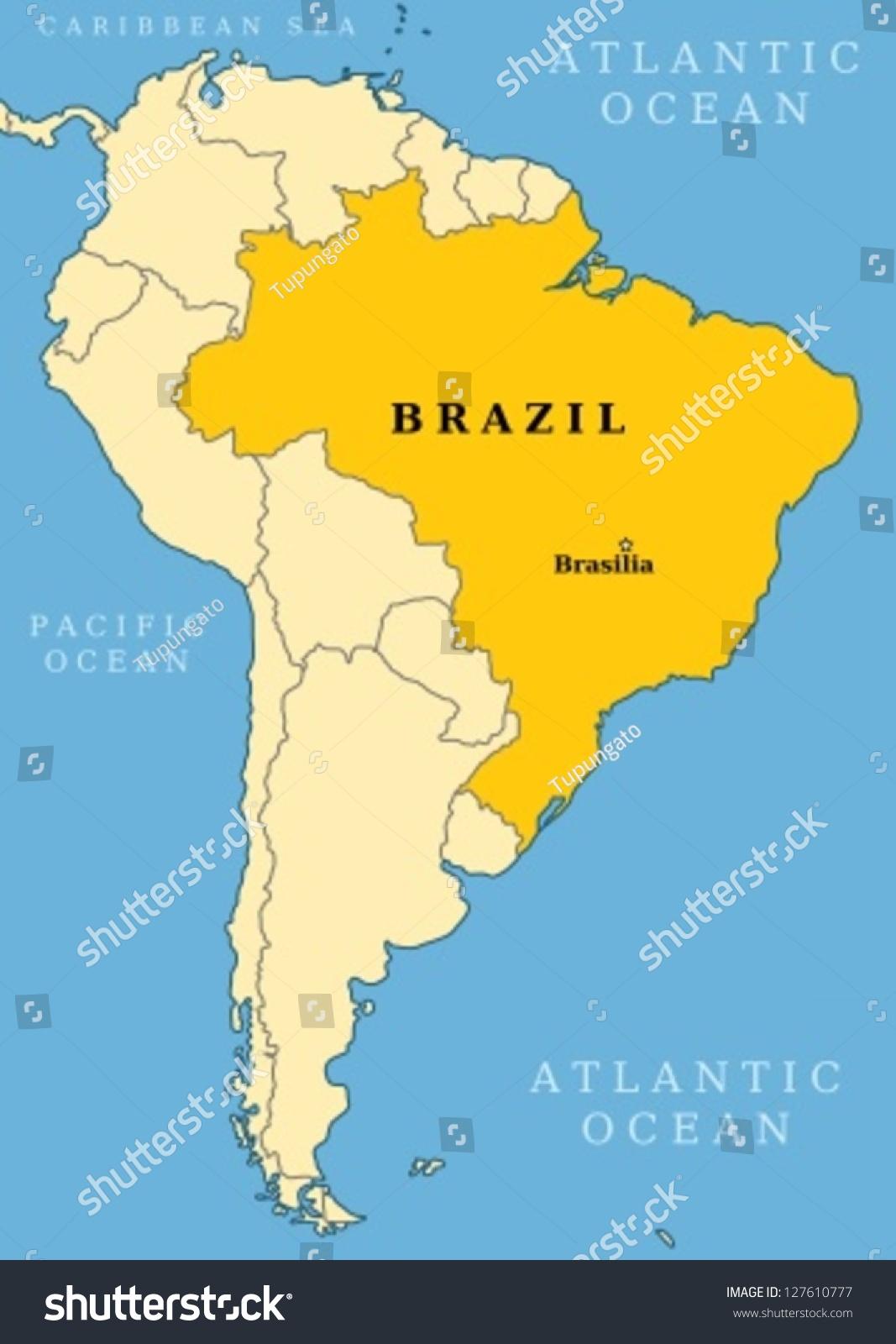 Brazil Locator Map Country Capital City Stock Vector - South america map brazil