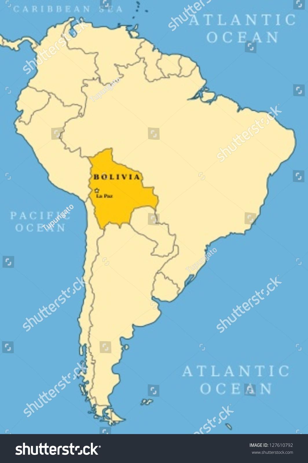 Bolivia Locator Map Country Capital City Stock Vector - Bolivia cities map