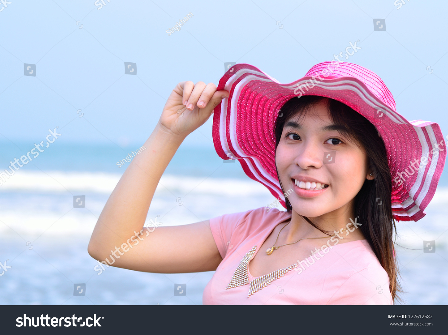 Beautiful Asian Woman With Hat On Beach Stock Photo ... - photo#36
