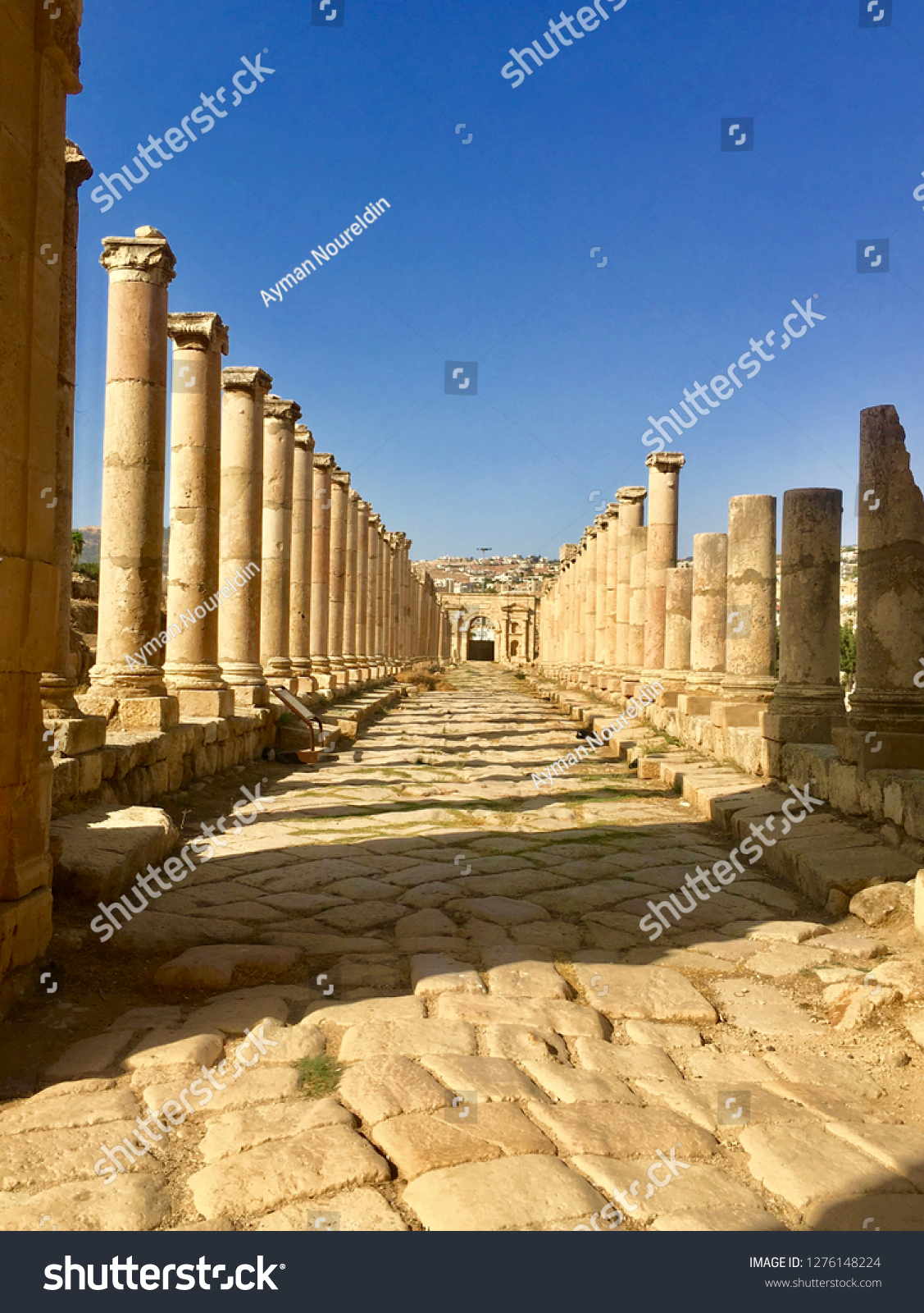 Ancient Roman city main road in Jerash city Jordan