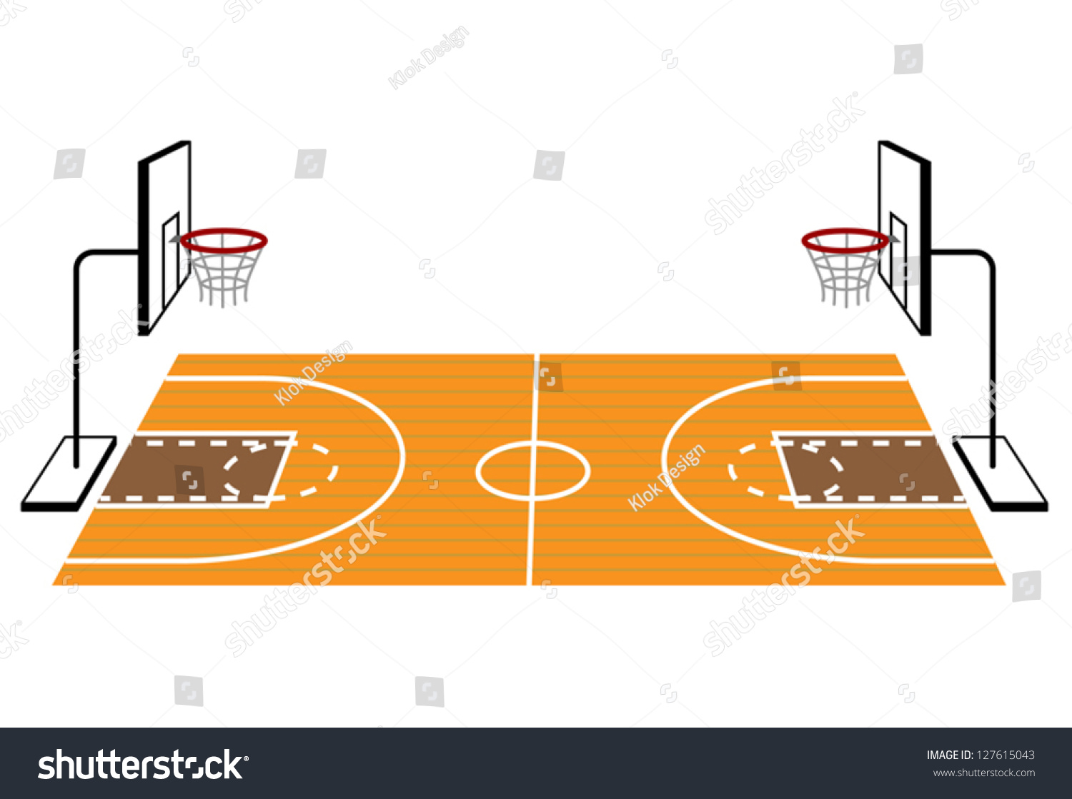 Basketball court stock vector 127615043 shutterstock for Basketball gym dimensions