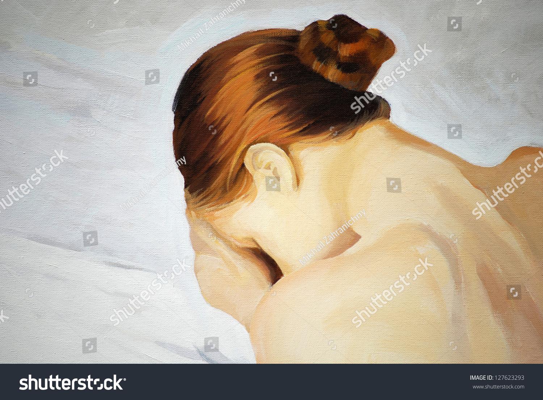 Crying Sad Girl, Painting, Illustration - 127623293 ...