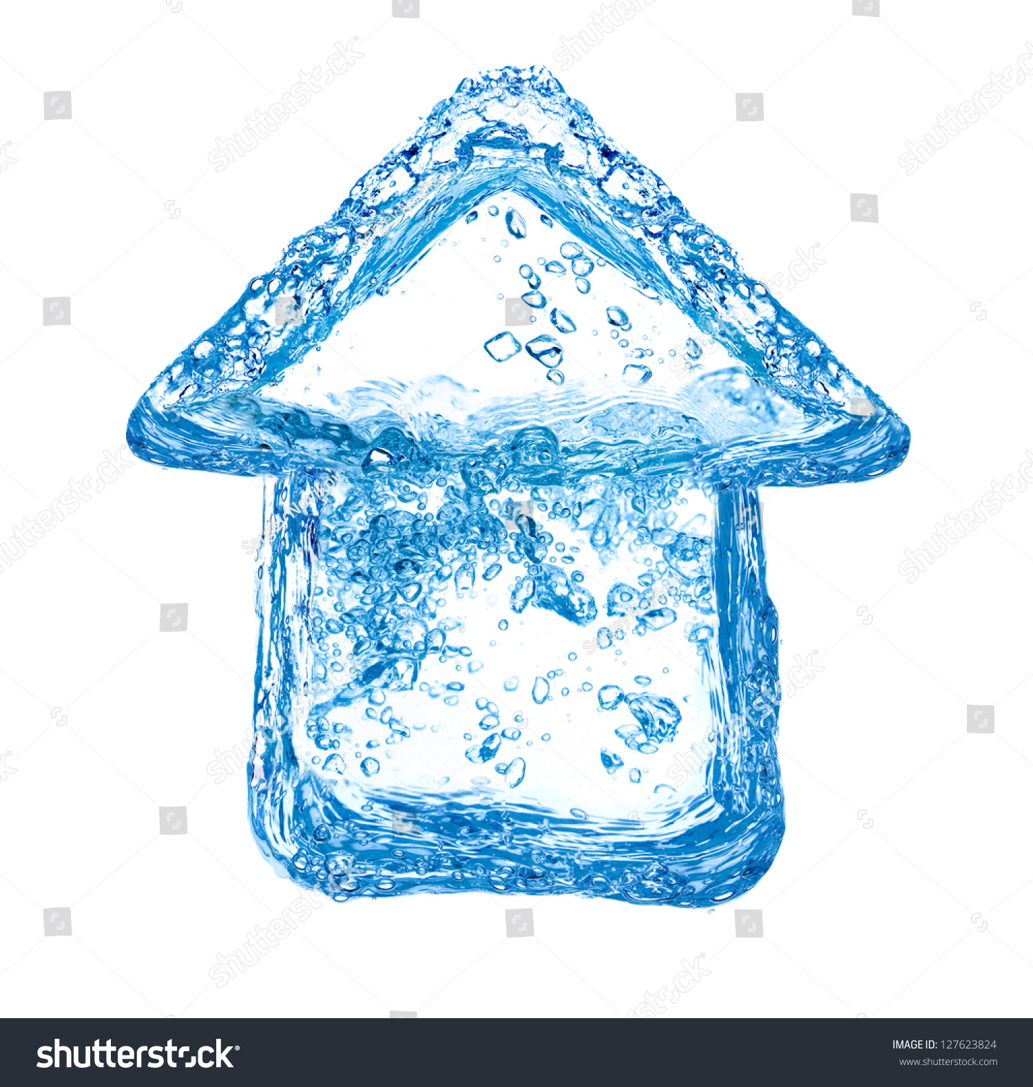 House Symbol Made Of Clean Water Splashes Stock Photo 127623824   Shutterstock