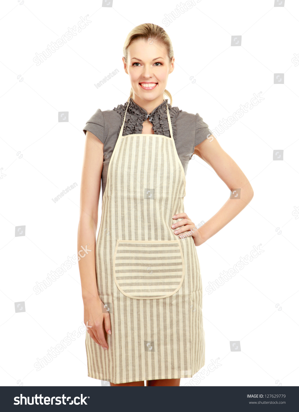 White apron ladies - Beautiful Happy Young Woman Wearing Kitchen Apron Isolated On White