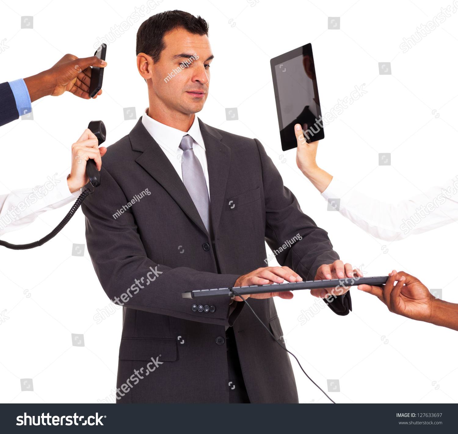 Busy Businessman Working Multiple Gadgets Isolated Stock ...