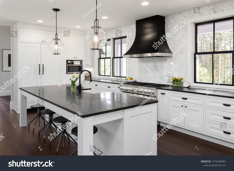 Beautiful Kitchen New Luxury Home White Stock Photo Edit Now 1276348381