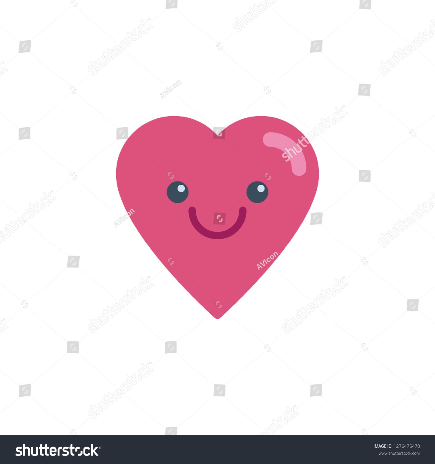 Happy Heart Face Character Emoji Flat Stock Vector (Royalty Free