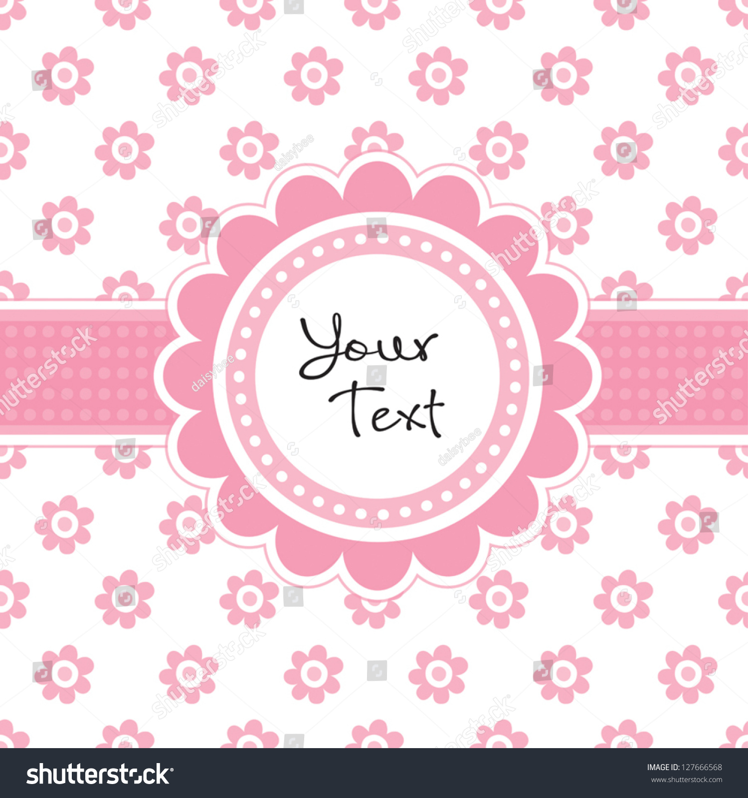 vector greeting card template cute daisy stock vector  vector greeting card template cute daisy shaped text frame and vintage floral print great