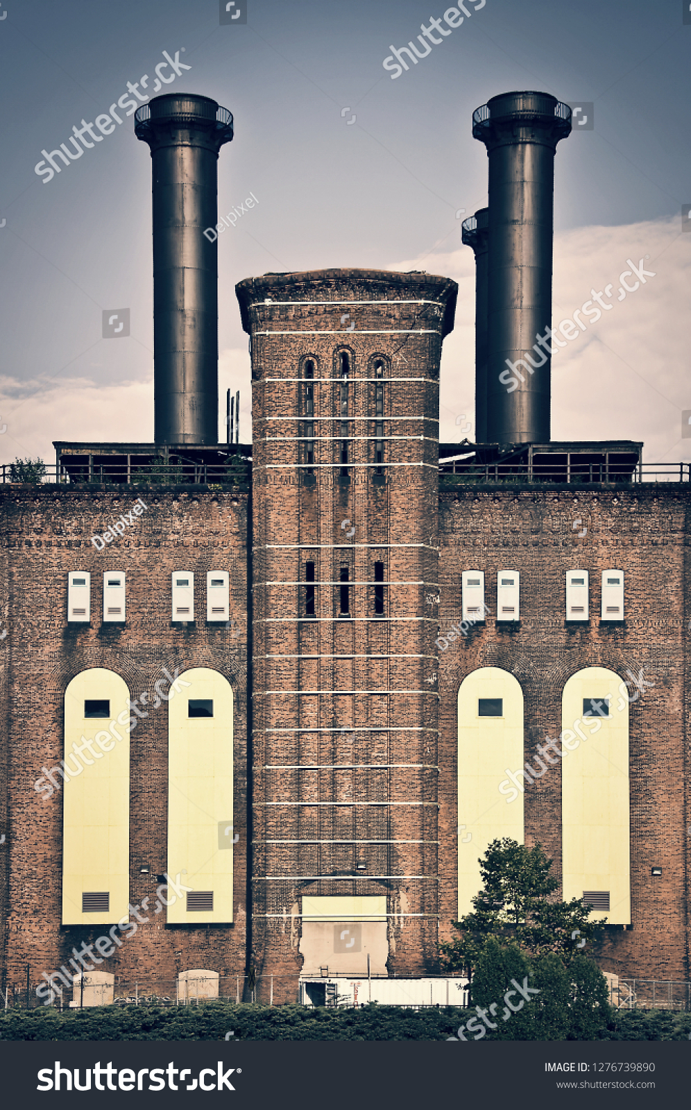 The powerhouse, ancient industrial brick building in Jersey city, New Jersey, USA #1276739890