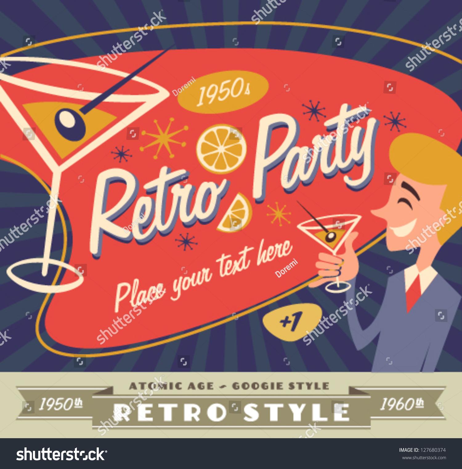 Retro Party Poster Stock Vector 127680374 - Shutterstock