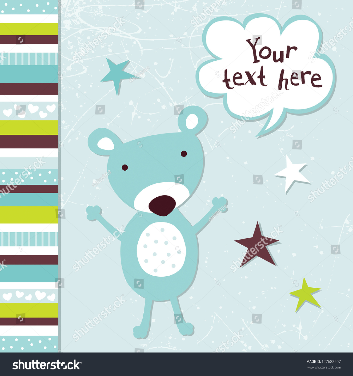 Raster Greeting Card Template For A Baby Boy With Cute Teddy Bear, And  Speech Bubble