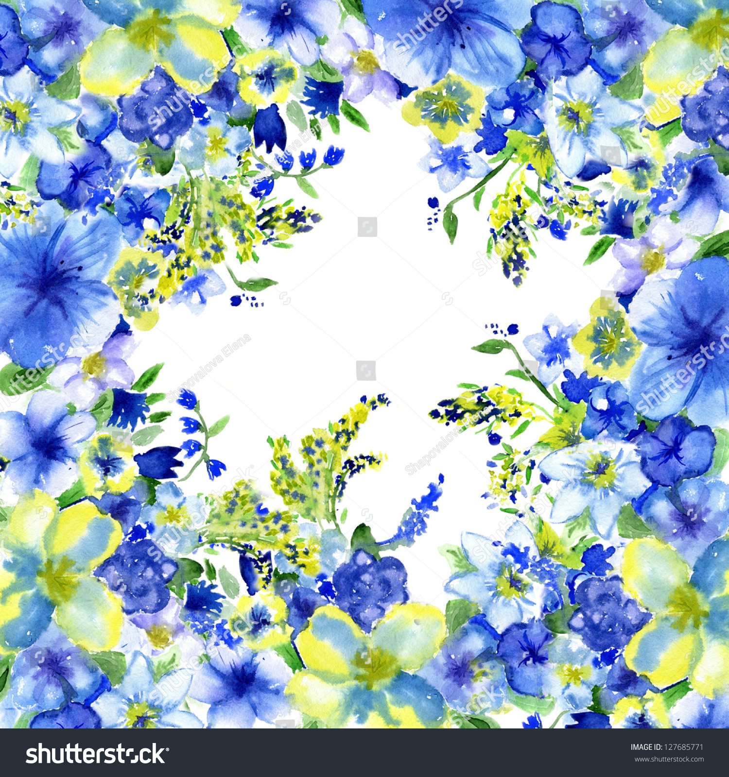 Watercolor Dark Blue Yellow Flowers On Stock Illustration 127685771