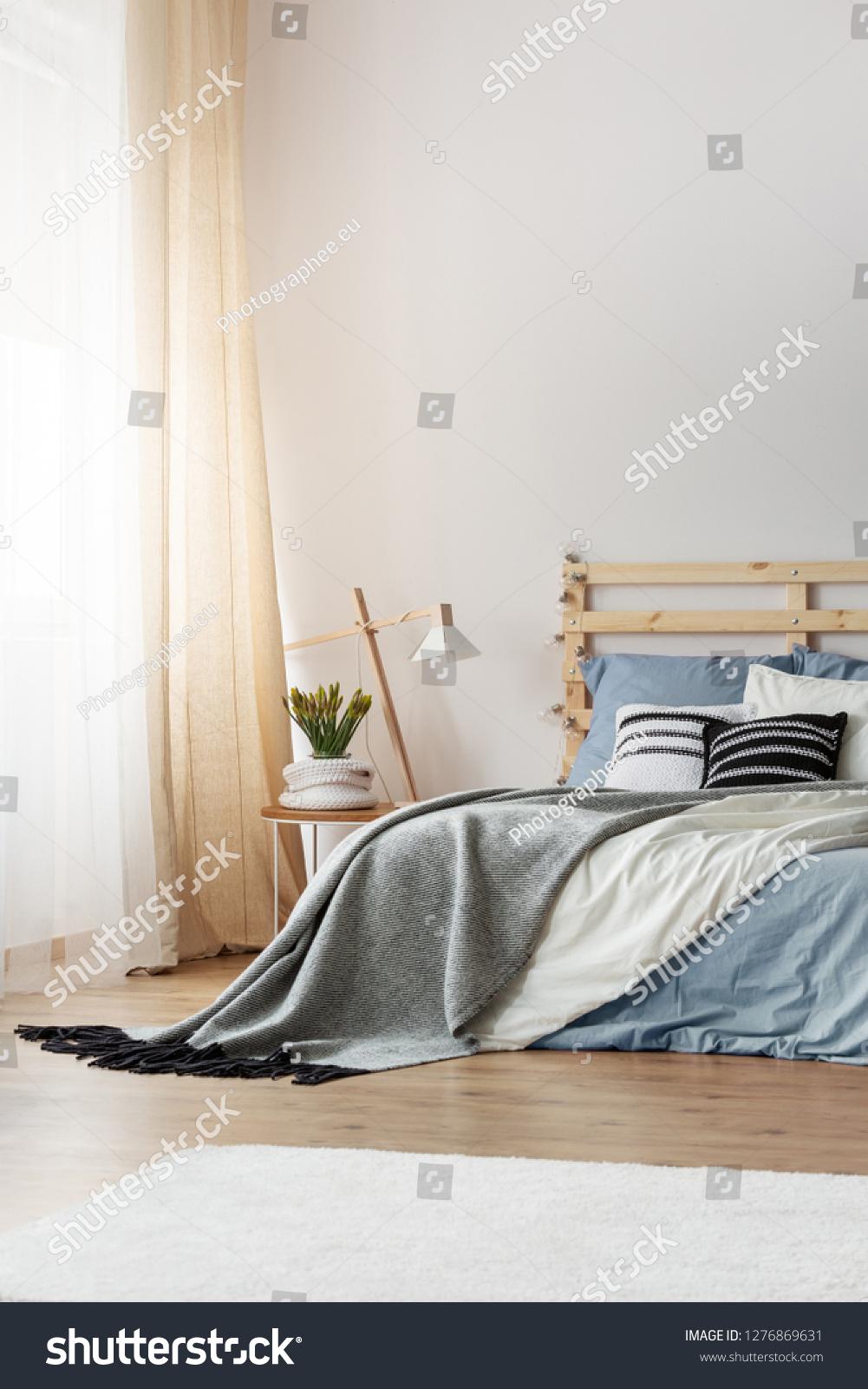 Light Blue Bedding Grey Blanket Black Stock Photo Edit Now 1276869631