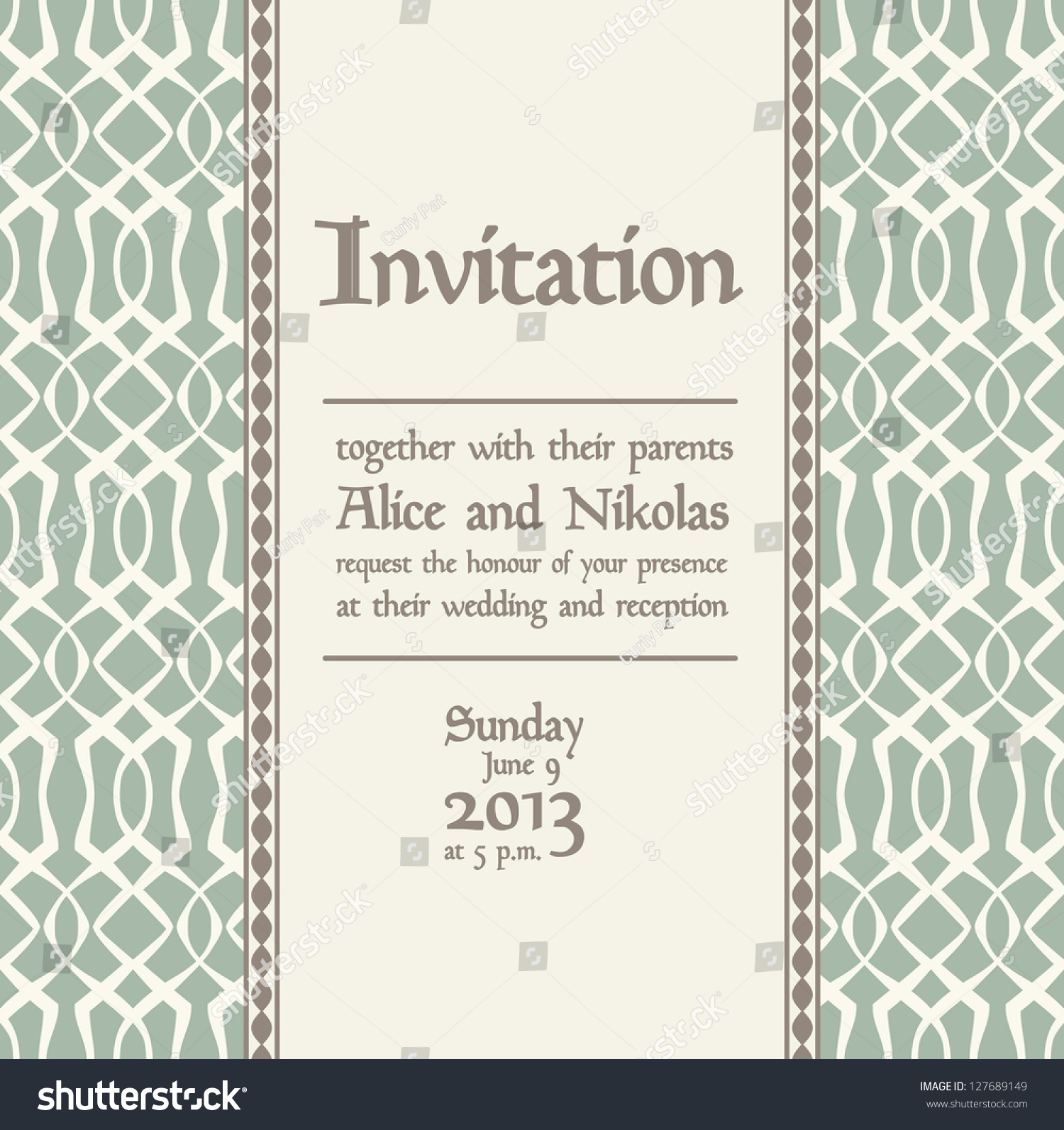 Wedding Invitation Modern Style Text Space Stock Vector