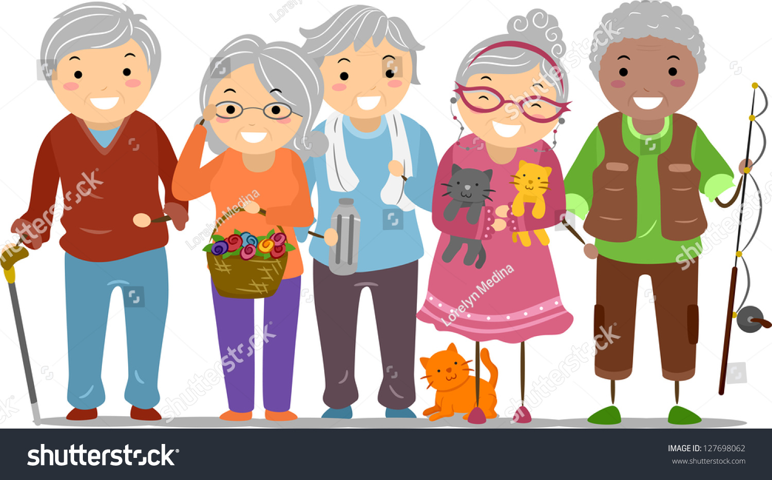 Stock illustrations senior citizen lady with a sign stock clipart - Illustration Stickman Senior Citizens Stock Vector
