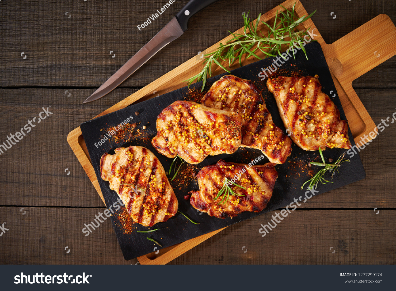 Tender boneless grilled pork chops, top view