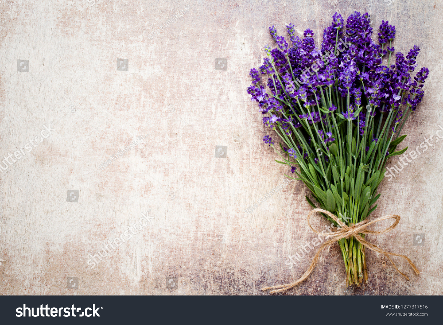 Lavender Flowers Bouquet On Rustic Background Stock Photo Edit Now 1277317516