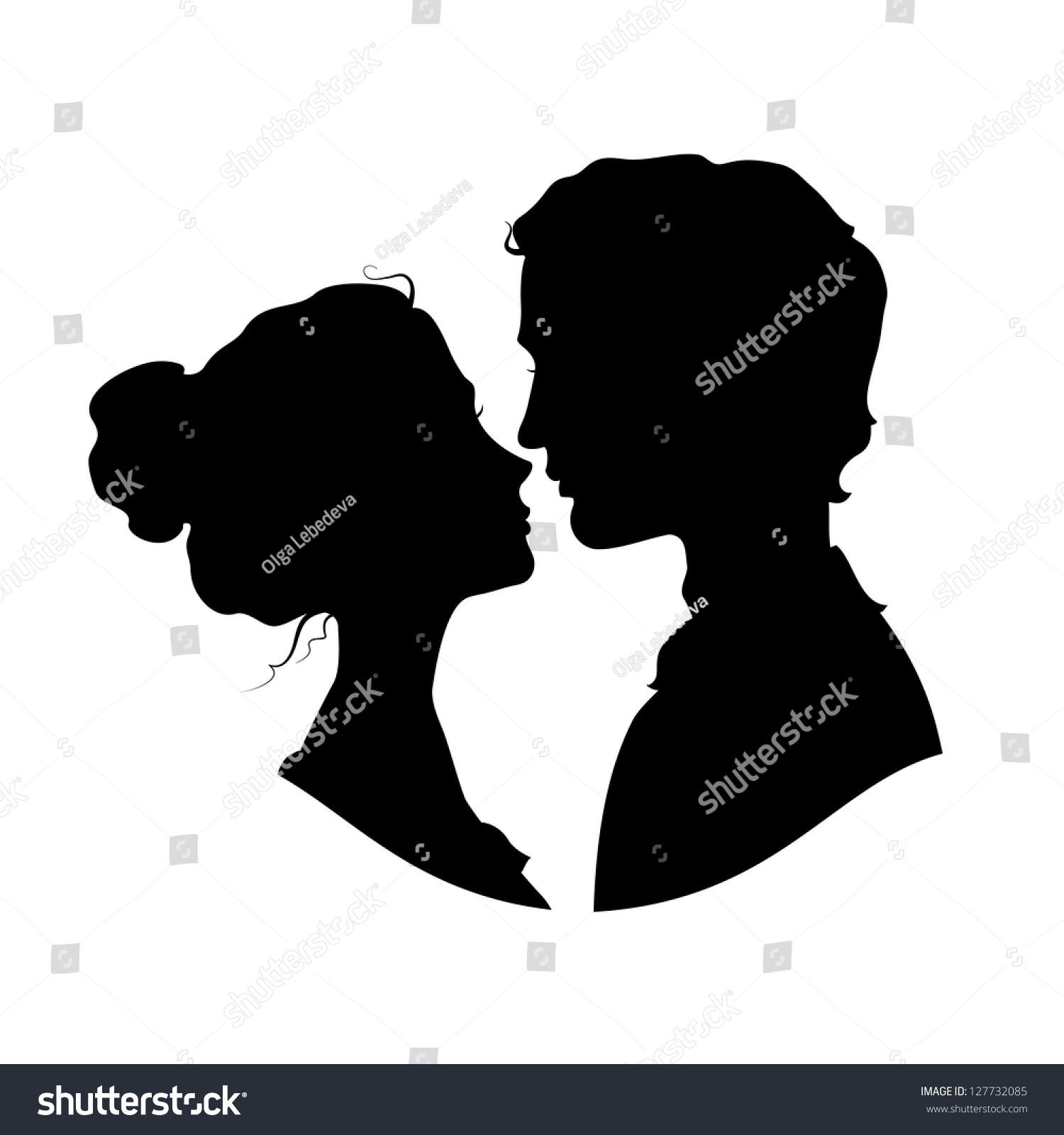 Siluetas de pareja enamorada negro contra fondo blanco - Fotos de parejas en blanco y negro ...