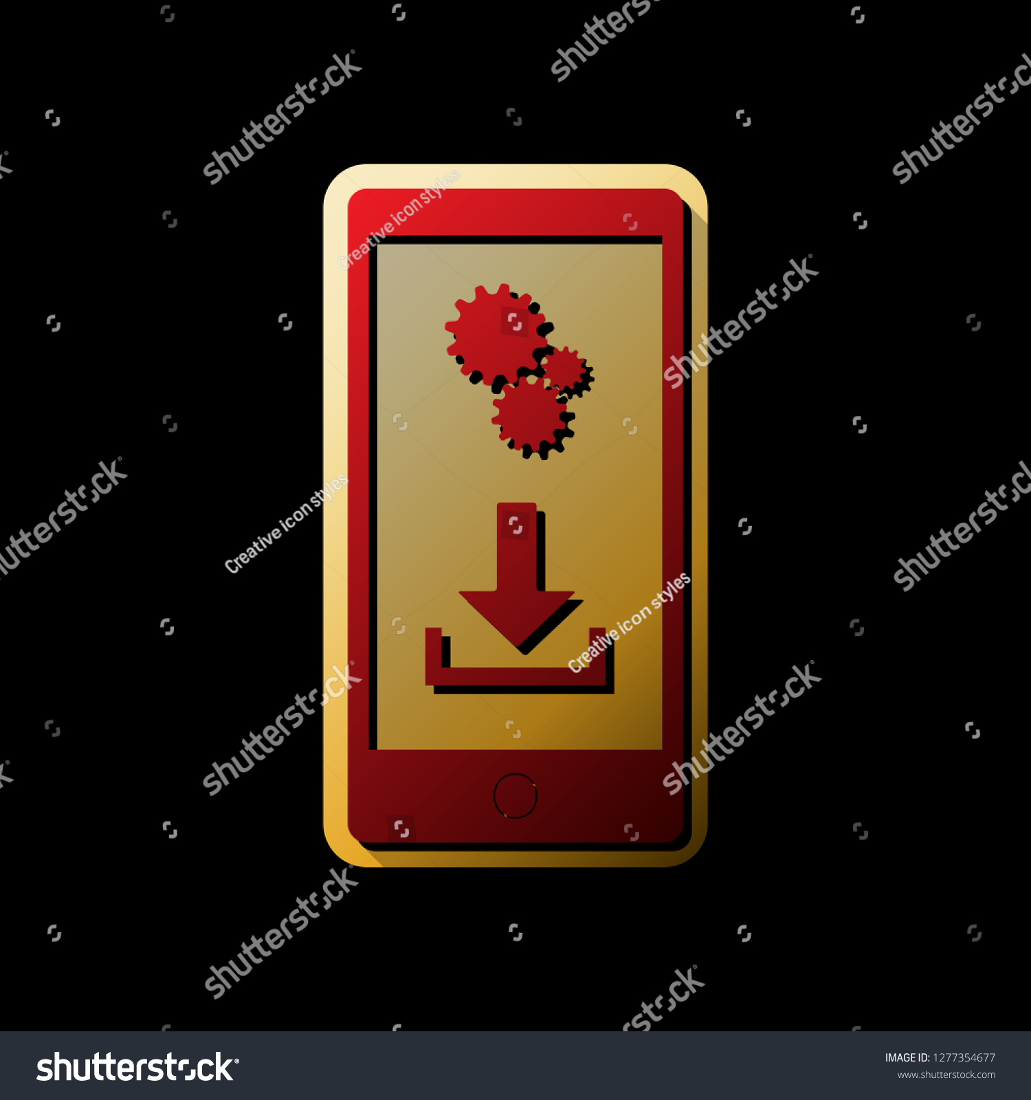 Phone Settings Download Install Apps Vector Stock Vector