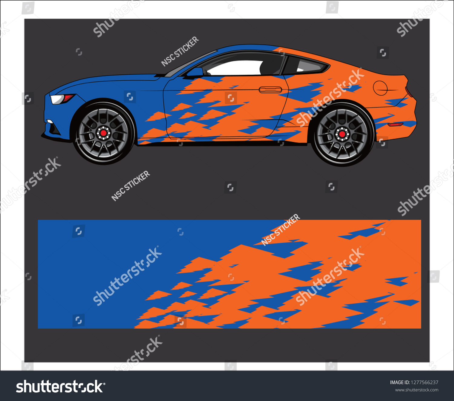 Abstract strip for racing car wrap sticker and decal