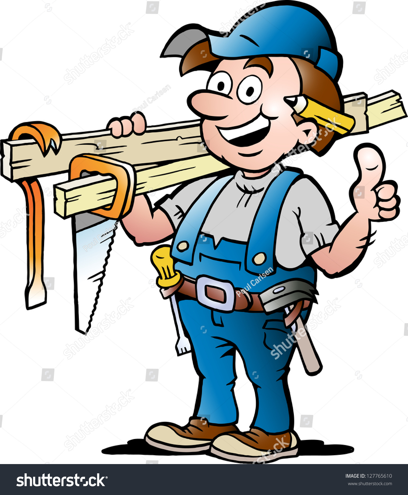Handdrawn Vector Illustration Happy Carpenter Handyman