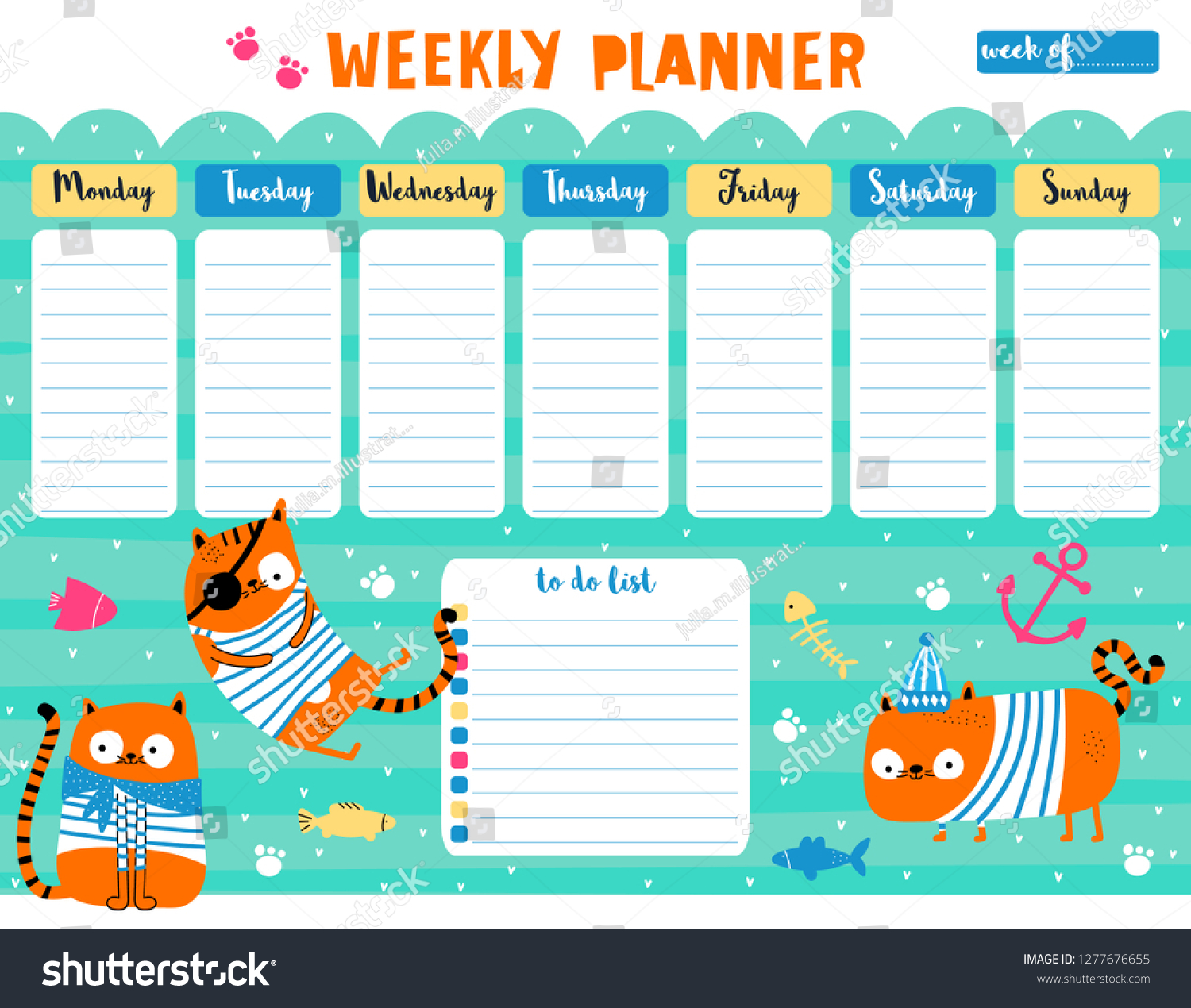 Kids Weekly Planner Do List Cute Stock Vector (Royalty Free