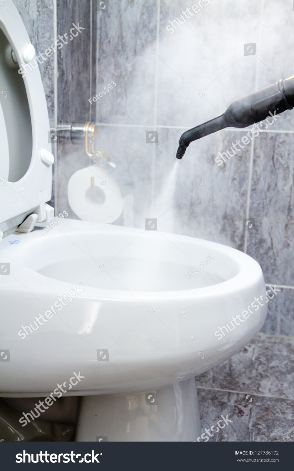 Cleaning Toilet Steam Stock Photo (Royalty Free) 127786172 ...