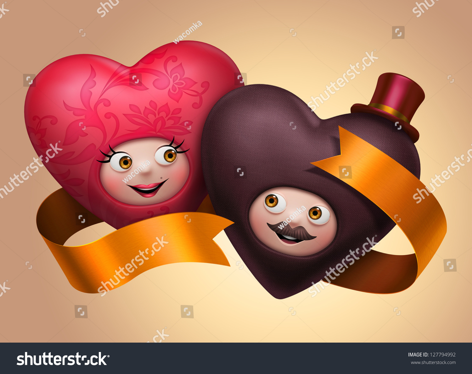 couple funny cute valentines day hearts stock illustration
