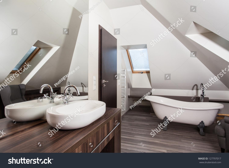 Country home - interior of a vintage attic bathroom | EZ Canvas
