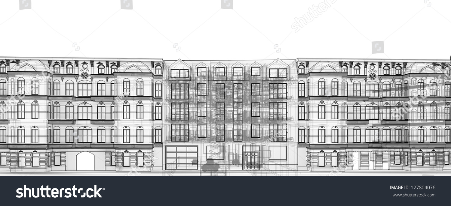 Apartment Building Graphic transparent wireframe graphic modern apartment house stock
