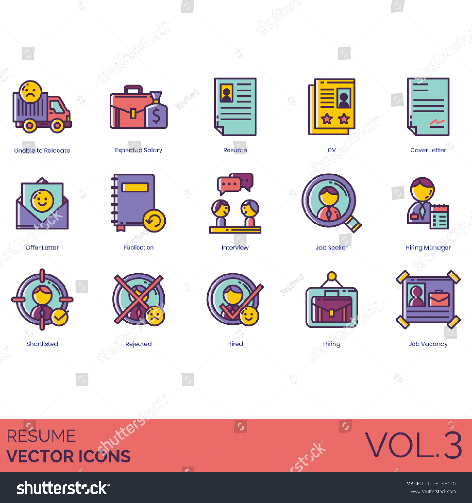 Resume Icons Including Unable Relocate Expected Stock Vector Royalty Free 1278056440