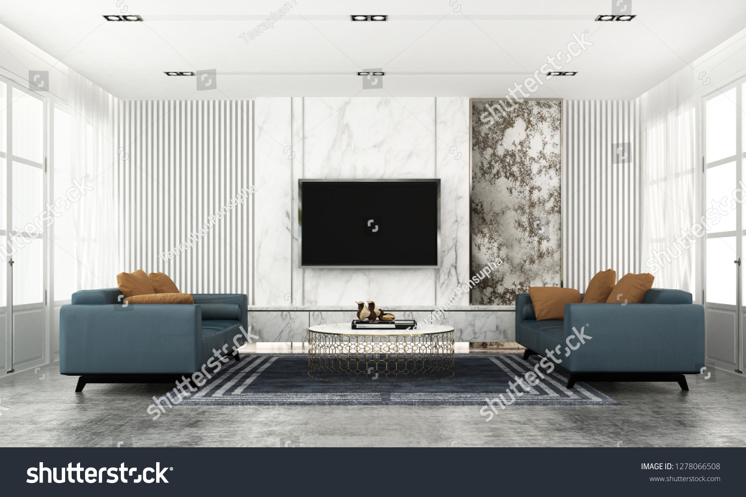 Modern Classic Living Room Interior Design Stock Illustration 1278066508
